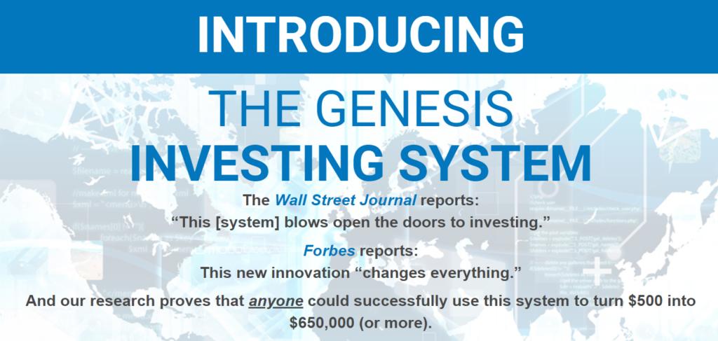 Genesis investing system landing page screenshot